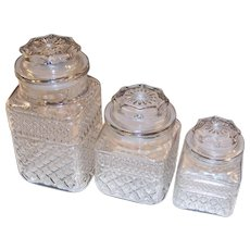 SET of3: Wexford Glass Storage Canister Jars