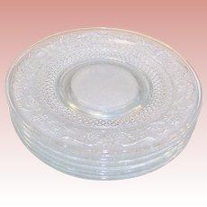 """SETS of 4: Fleur De Lis Sandwich Pattern 10"""" Glass Plates (Two sets avail.)"""