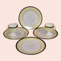 Hazel Atlas Yellow & Black Moderntone Ovide Informal Plates, Creamer, Sugar