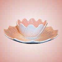 Anchor Hocking Peach / Pink Fired On Vitrock Leaf & Blossom Set