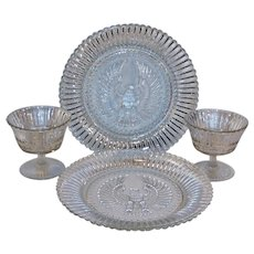 """""""Stars and Stripes"""" 1942 Anchor Hocking TWO 8 1/2 """" Eagle Plates & Sherbets  (Fruit, Dessert)"""