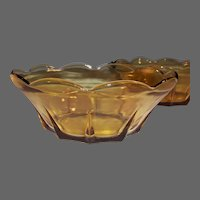 Vintage Swedish Modern Honey Gold Amber Serving Bowl   (2 Avail)