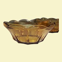 Vintage Swedish Modern Honey Gold Amber Serving Bowl   (2 Avail)