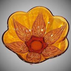 Vintage Anchor Hocking Renaissance Gold Amber Beaded Leaf Glass Bowl