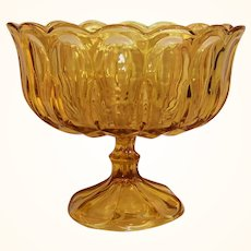 Large Vintage Amber Glass Compote Fruit Console Bowl