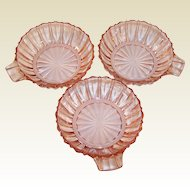 Three Vintage Hocking Pink Fortune Depression Glass Berry Bowls with Handle