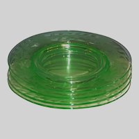 """SET of 4: Cambridge Etched Green Glass 8""""  Luncheon or Dessert  Plates"""