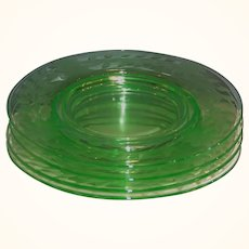"SET of 4: Cambridge Etched Green Glass 8""  Luncheon or Dessert  Plates"
