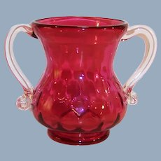 Vintage Cranberry Double Handled Vase