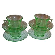 SET of 4: Cambridge Etched Green Depression Glass Tea Coffee Cups Saucers