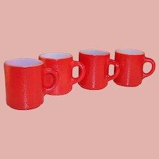 "Set of 4: Christmas Red Hazel Atlas ""Orange Peel"" Mugs"