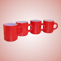 "Set of 4: Red Hazel Atlas ""Orange Peel"" Mugs"