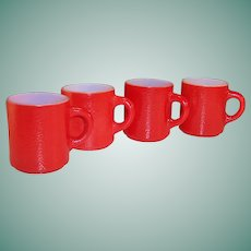 "Set of 4: Red Hazel Atlas ""Orange Peel"" Mugs"