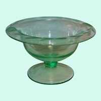 Etched Green Depression Glass Comport / Compote / Mayonnaise