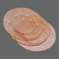 "MacBeth Evans; Dogwood, ""Apple Blossom,"" Pink Depression Glass 9"" Dinner Plates (3 AVAILABLE)"