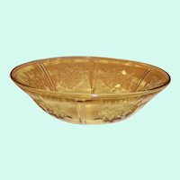 "Federal Glass: Amber Rose of Sharon (Cabbage Rose, Sharon) 8 1/2"" Serving Bowl"