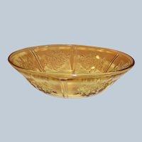 "Federal Glass: Amber Rose of Sharon (Cabbage Rose, Sharon) 8 1/2"" Serving Bowl"