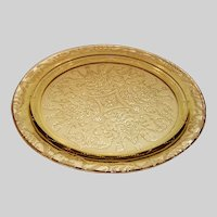 """Amber Federal Glass Madrid Pattern 11  1/2"""" Cake Plate"""