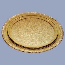 "Amber Federal Glass Madrid Pattern 11  1/2"" Cake Plate / Platter"