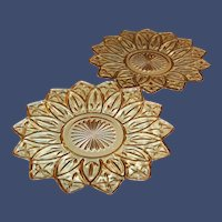 """Set of TWO:  9 1/4"""" Amber Federal Glass Petal Plates"""