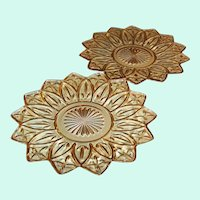 "Set of TWO:  9 1/4"" Amber Federal Glass Petal Plates"