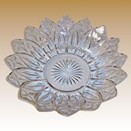 Large Federal Glass Petal Crystal Clear Serving Bowl