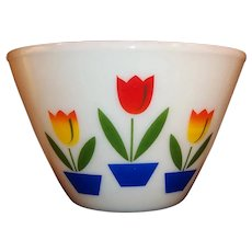 Large 4 Quart Mid-Century Fire King Ivory Tulip Mixing Bowl