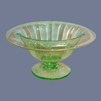 Green Depression Glass Panel Optic Mayonnaise/ Compote / Comport