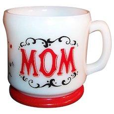 """Hazel Atlas: Red & White, Gay 90's """"Mom"""" Coffee Mug"""