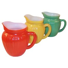 Set of THREE Hazel Atlas Gay Rainbow Milk Pitchers