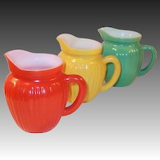 Set of THREE Hazel Atlas Gay Rainbow Milk Pitchers