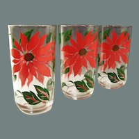 THREE 10 oz. Hazel Atlas Poinsettia Christmas Tumblers