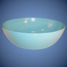"Large Hazel Atlas 7 3/4"" Aqua Blue Ovide Serving Bowl -- Excellent!"