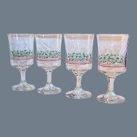 Set of 4: Holly Berries & Ribbon Stemmed Wine or Water Glasses; Vintage Libbey Arby's 1986