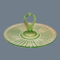 "Green Depression Glass Mayfair; ""Open Rose"" Center Handled Sandwich Server Tray / Plate"