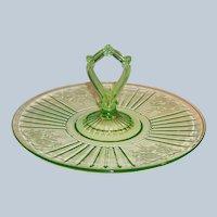 "Green Depression Glass Mayfair; ""Open Rose"" Center Handled Sandwich Server Tray / Plate"