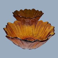 "Set of 2: Indiana Glass Amber Lily Pons Textured 7"" Serving Bowls"