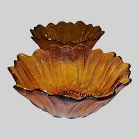 """Set of 2: Indiana Glass Amber Lily Pons Textured 7"""" Serving Bowls"""