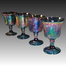 SET of 4:  Iridescent Blue Harvest Grape Carnival Glass Goblets