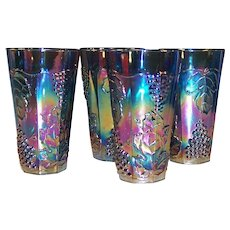 SET of 4: Iridescent Blue Harvest Carnival Glass 14 oz Tumblers