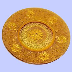 "Tiara Exclusive Amber Sandwich Glass  10 3/8"" Dinner Plate"