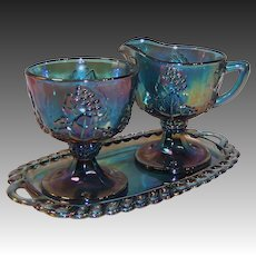 Indiana Blue Carnival Glass Harvest Grape Creamer, Sugar & Tray Set