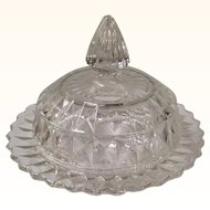 Crystal Clear Jeannette Glass Windsor Round Butter