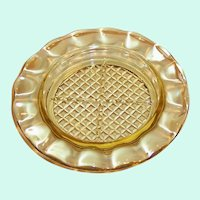 Home Spun Jeannette Yellow Amber Glass Coaster