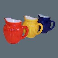 Set of  THREE Hazel Atlas KIX Gay Rainbow Milk Pitchers