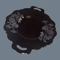 """Mt. Pleasant; """"Double Shield;"""" Black Amethyst Glass Handled Serving Plate or Sandwich Tray"""