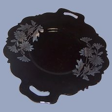 """Mt. Pleasant; """"Double Shield;"""" Black Amethyst Glass Handled Serving Plate"""