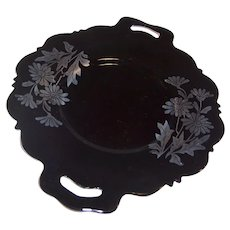 "Mt. Pleasant; ""Double Shield;"" Black Amethyst Glass Handled Serving Plate"
