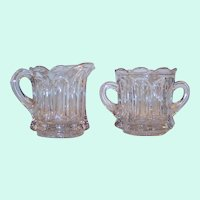 Vintage Heavy Paneled Glass Creamer & Sugar