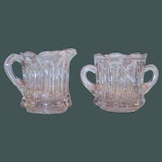 Vintage Heavy Paneled Glass Creamer & Sugar